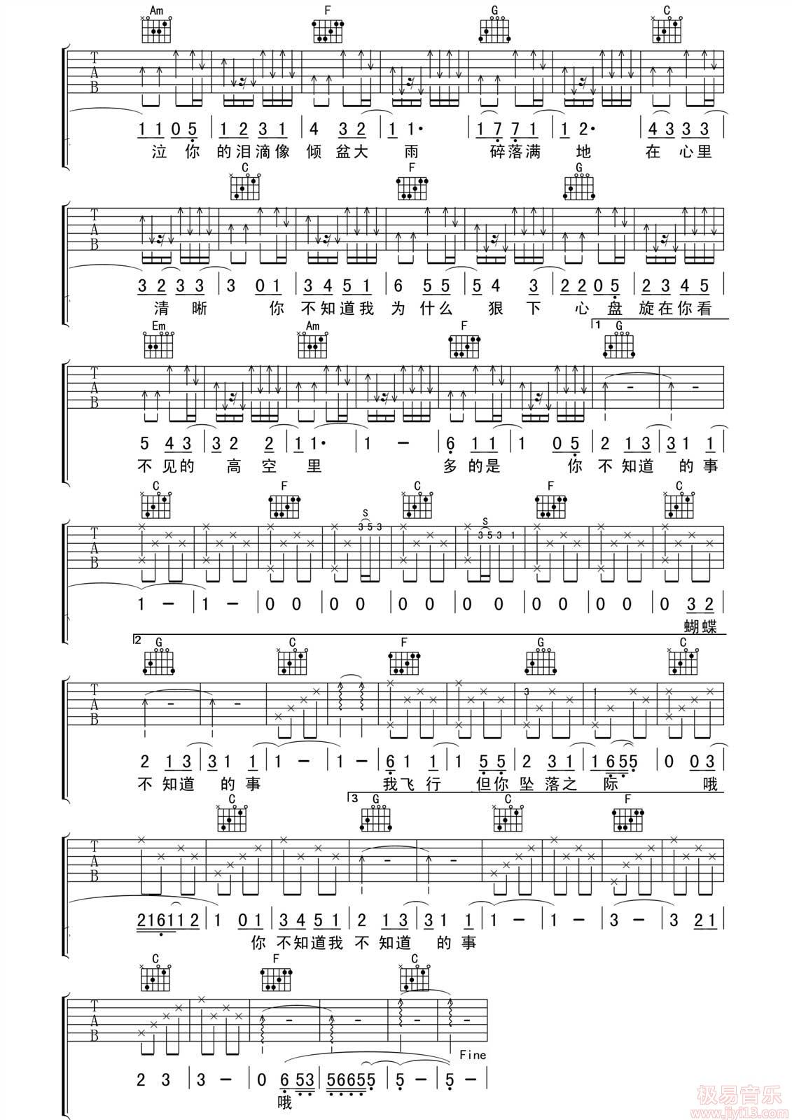 王力宏《你不知道的事》高清吉他弹唱谱C调完美版原版编配+视频教学