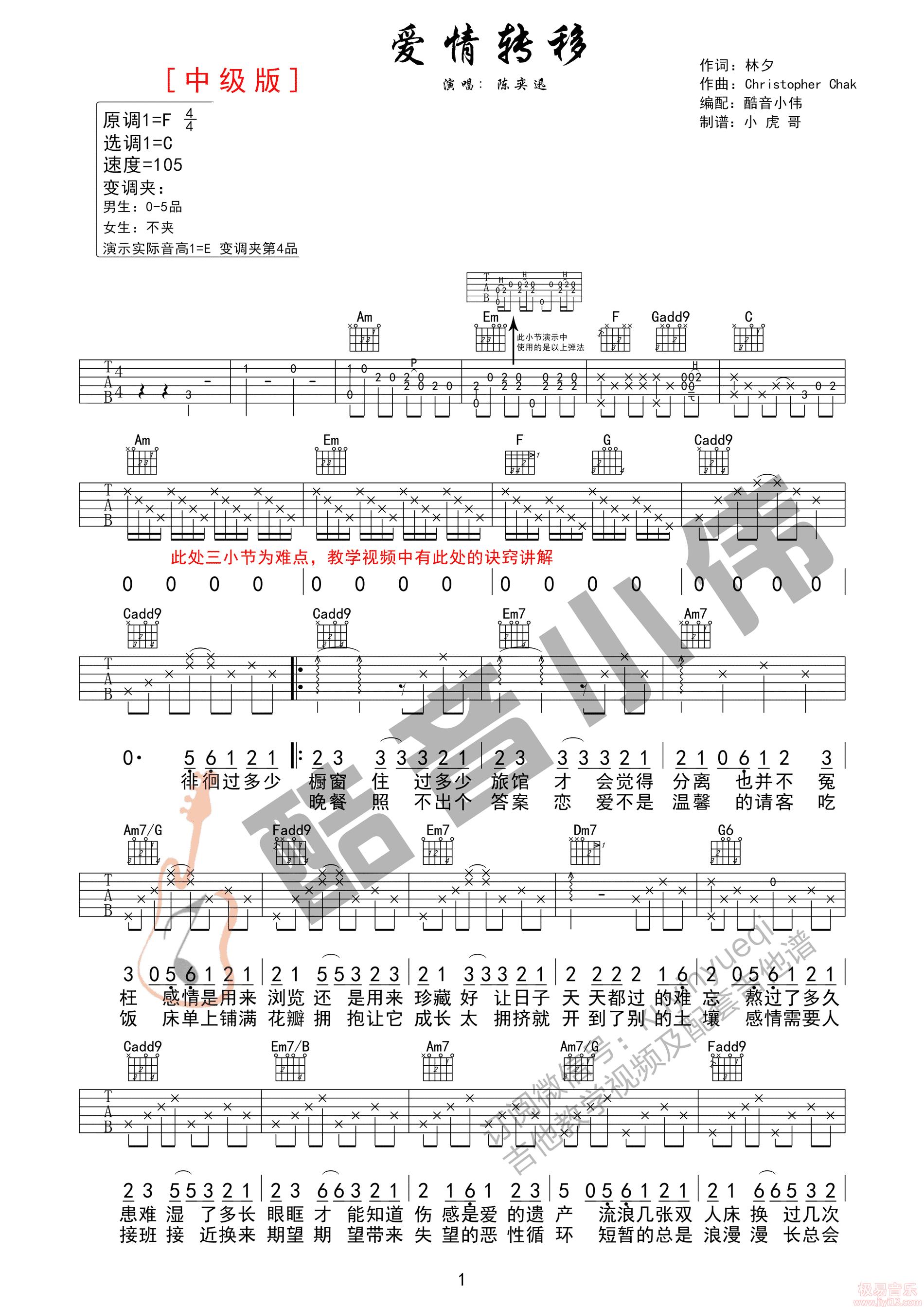 陈奕迅《爱情转移》高清吉他弹唱谱F调完美版原版编配+视频教学