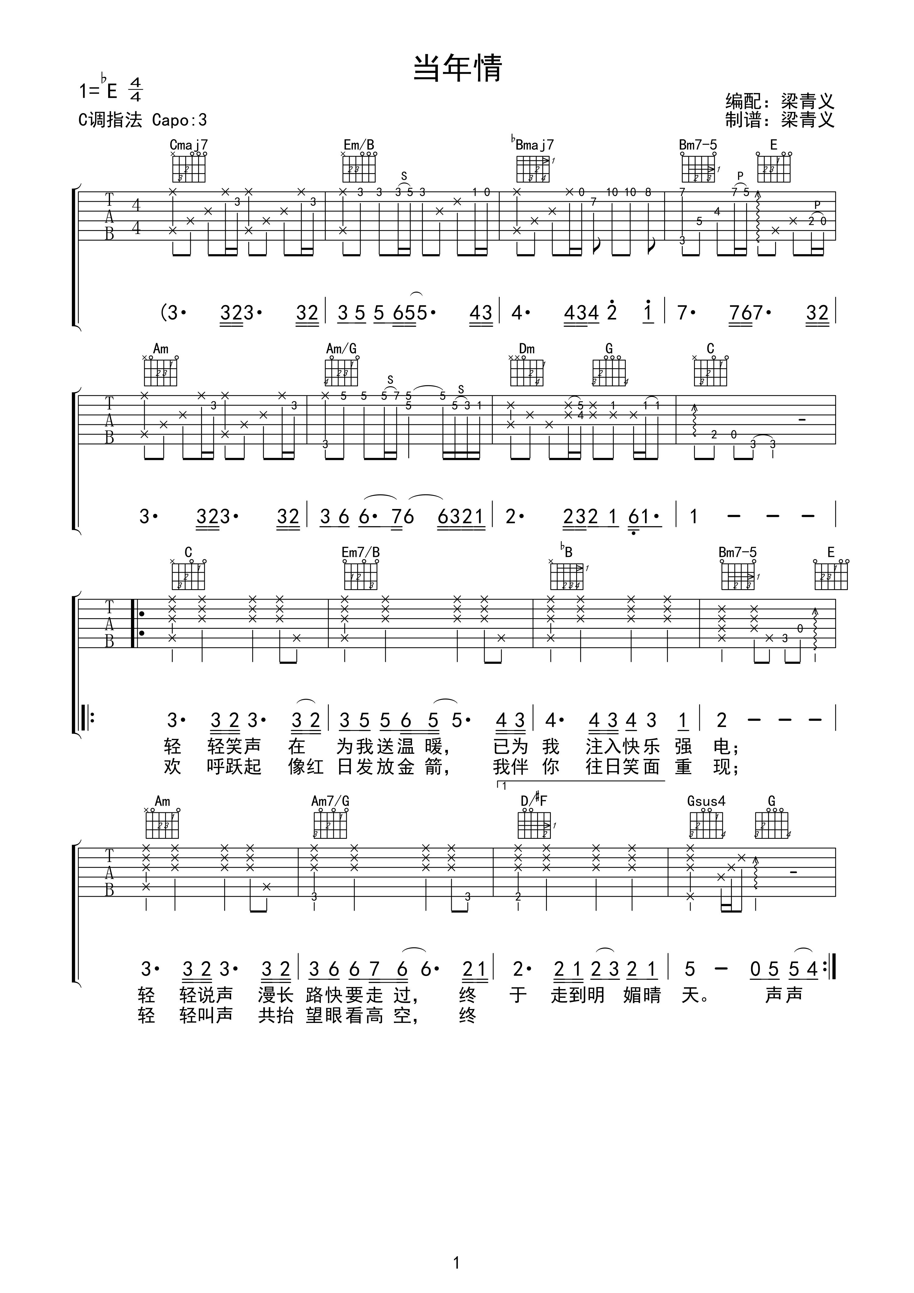 张国荣《当年情》高清吉他弹唱谱bE调完美版原版编配+视频示范